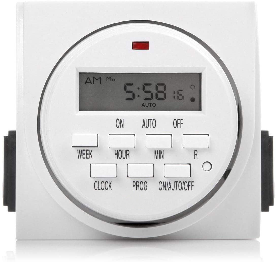 115V 60Hz Dual Outlet Indoor 7 Day Heavy Duty Digital Programmable Timer Socket/Plug Timer