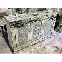 Wholesale Price Modern Luxury Silver Sparkly Crushed Diamond Mirrored Two Doors Sideboard Cabinet Console Table For Home Hotel