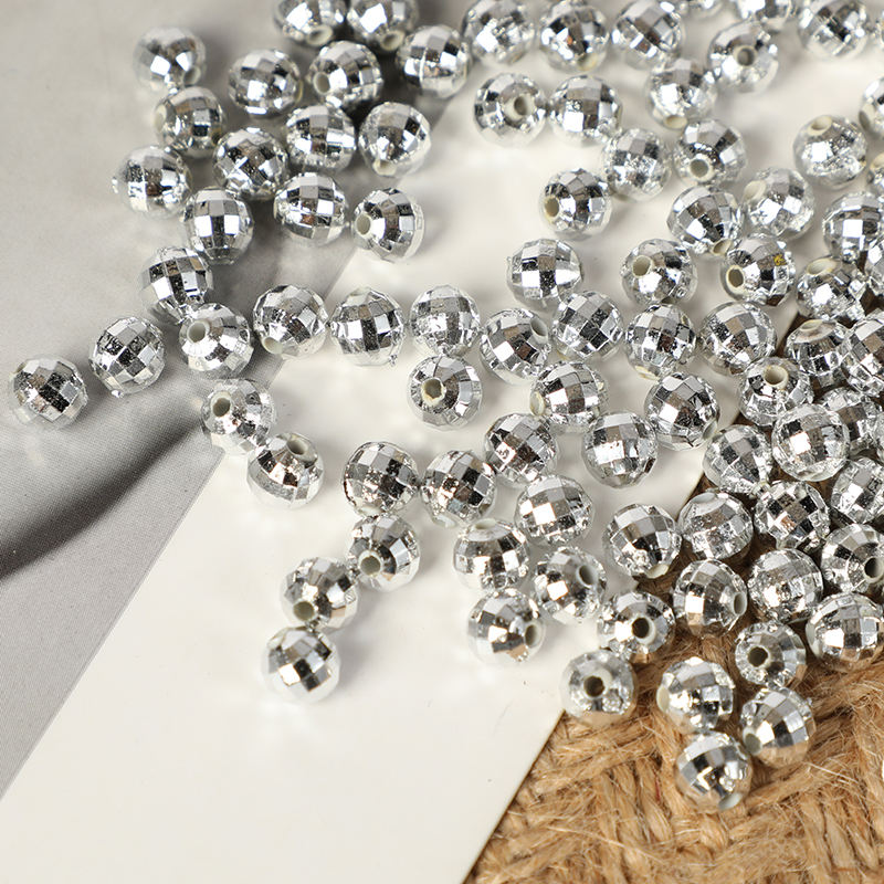 Hot Sale CCB beads Earth Shaped Round Silver Plated Loose Beads For Bracelet Making