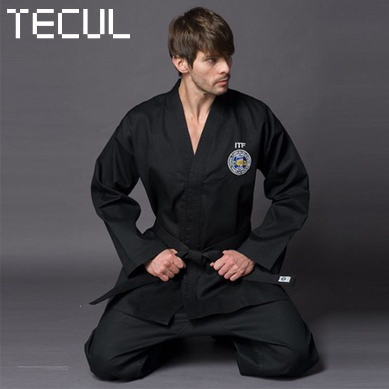TECUL other sportswear adult's Black ITF series taekwondo suit customized embroidery taekwondo training sport suit