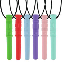 Sensory Chew Necklace Bundle Chewy Stick Toy Autism Chewing Pendant Silicone Teether Chewlery for Baby Teethers M49