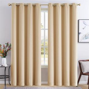Polyester solid beige ready made black out drapes soft classic cortinas luxury window room-darkening grommet panel