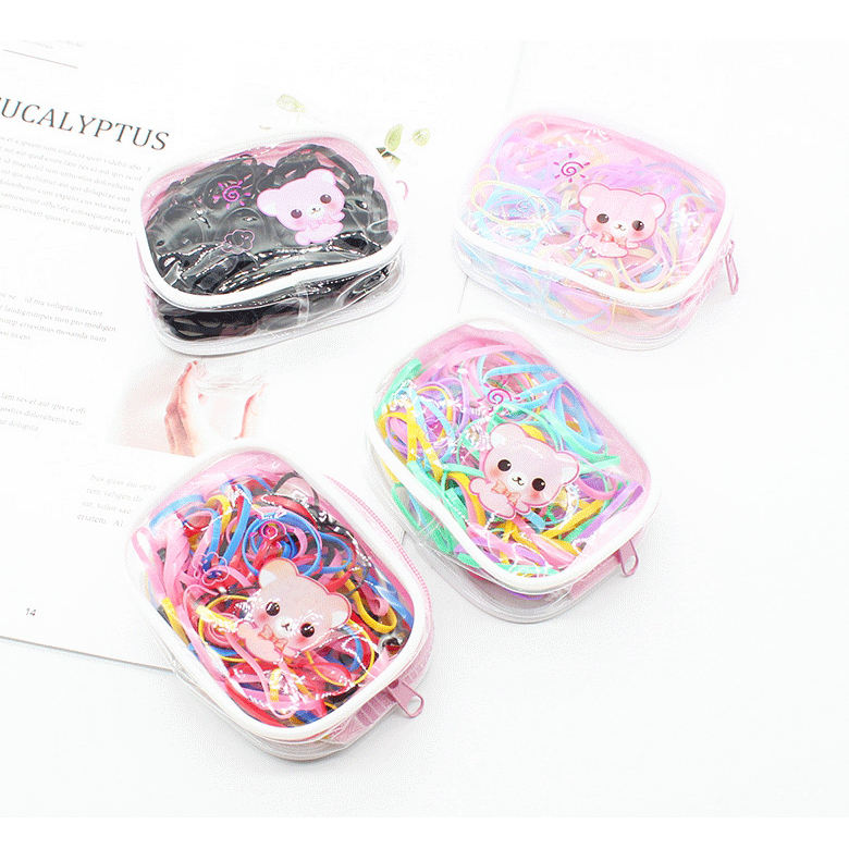 YIWU Qiyue Korea Disposable Cartoon Transparent Bag Children's Color Rubber Band Hair Accessories Bow Scrunchies