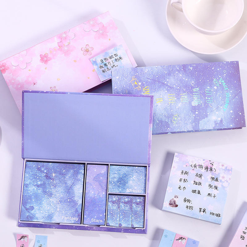 Cute kawaii foil cherry bloom sky stars self-adhesive memo pad sticky notes pad stationery supplies gift box swrap