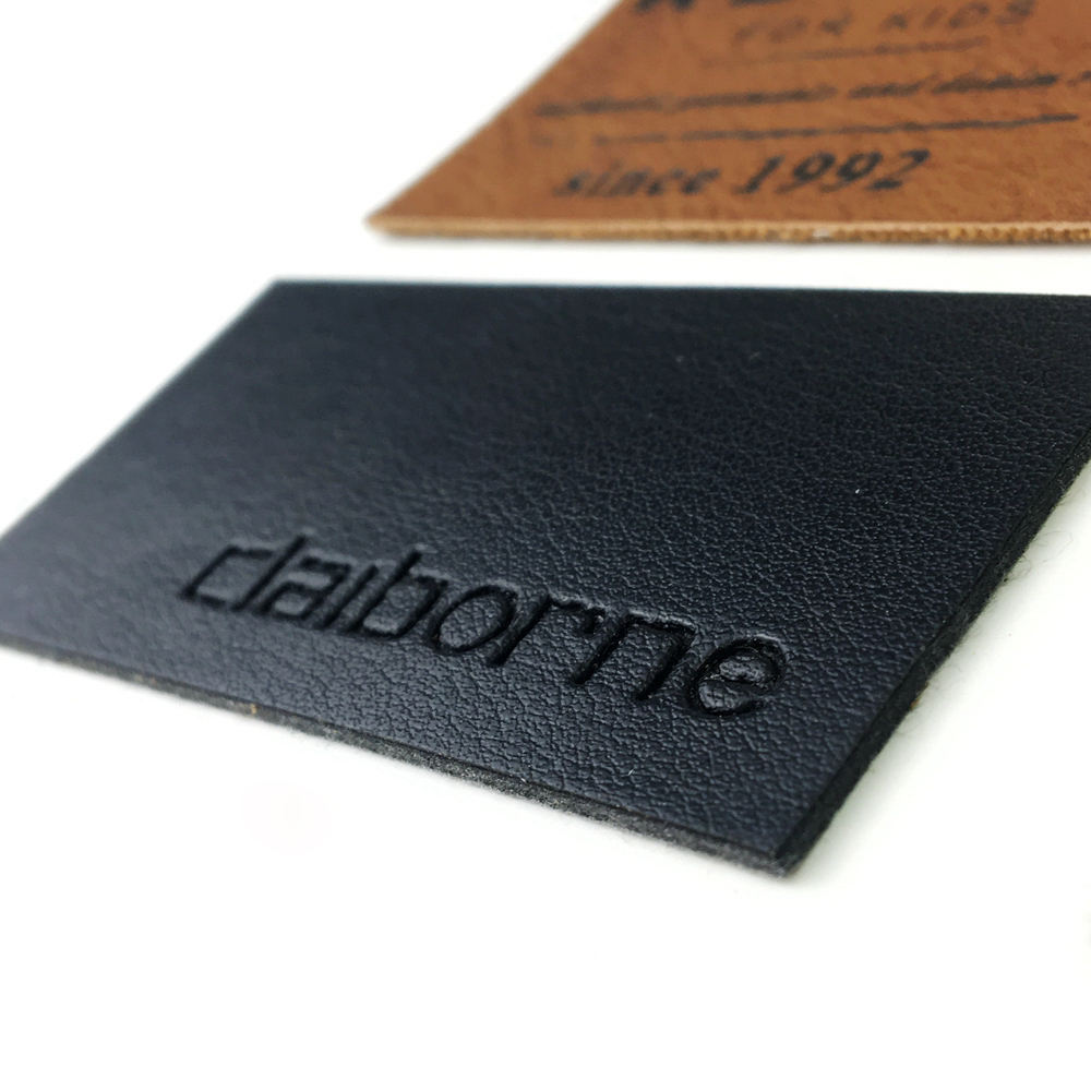 Black Metal Leather Labels Personalized Custom Debossed Brand Logo Real Leather