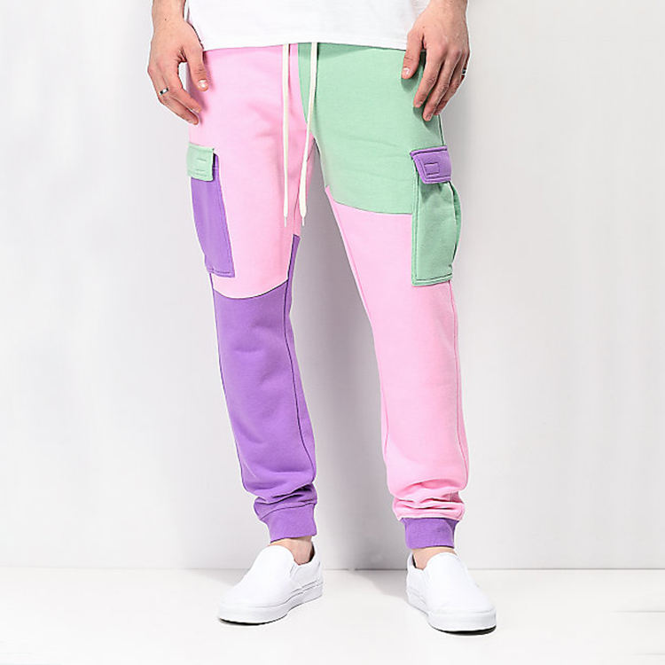 China factory custom wholesale men's color block jogger sweatpants