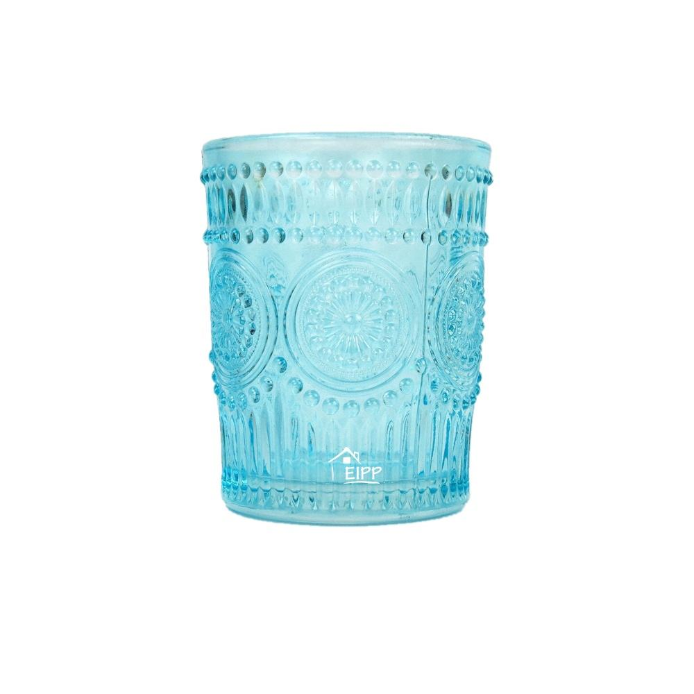 Wholesale Blue Red Embossed Round Engrave Glass Votive Xmas Candle Holder