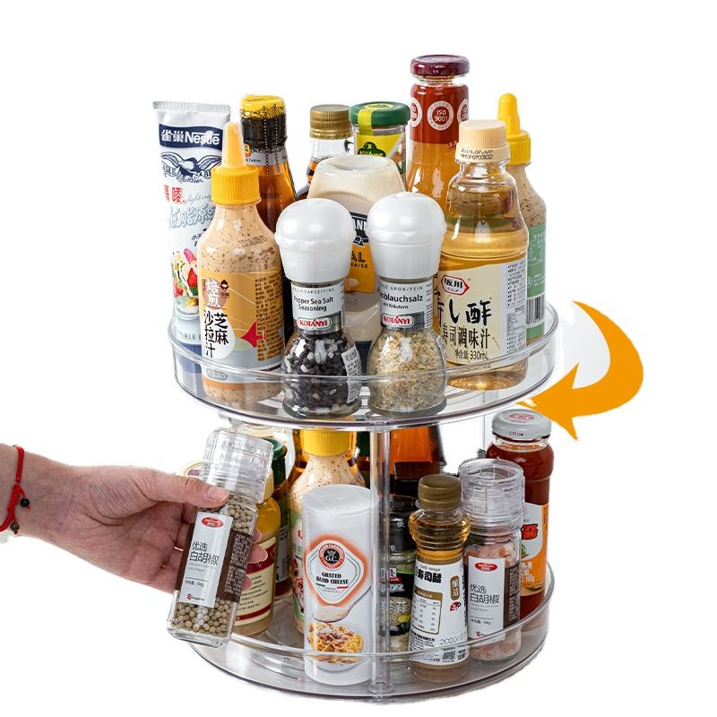1/2/3 Tier Transparent Plastic Lazy Susan Kitchen Spice Rack Makeup Storage 360度Turntable Rotating Seasoning Organizer