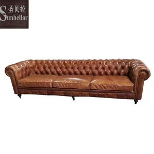 luxury furniture sofa set top grain leather chesterfield tufted buttons distressed vintage tan leather couch living room sofa