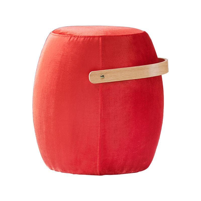 Nordic creative designer wooden bucket fabric with high density foam round stool for living room