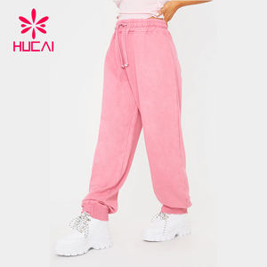 custom new design womens comfortable pink workout Drawstring Training sports sweatpants cotton jogger women