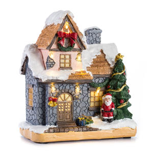 High quality led light resin christmas house