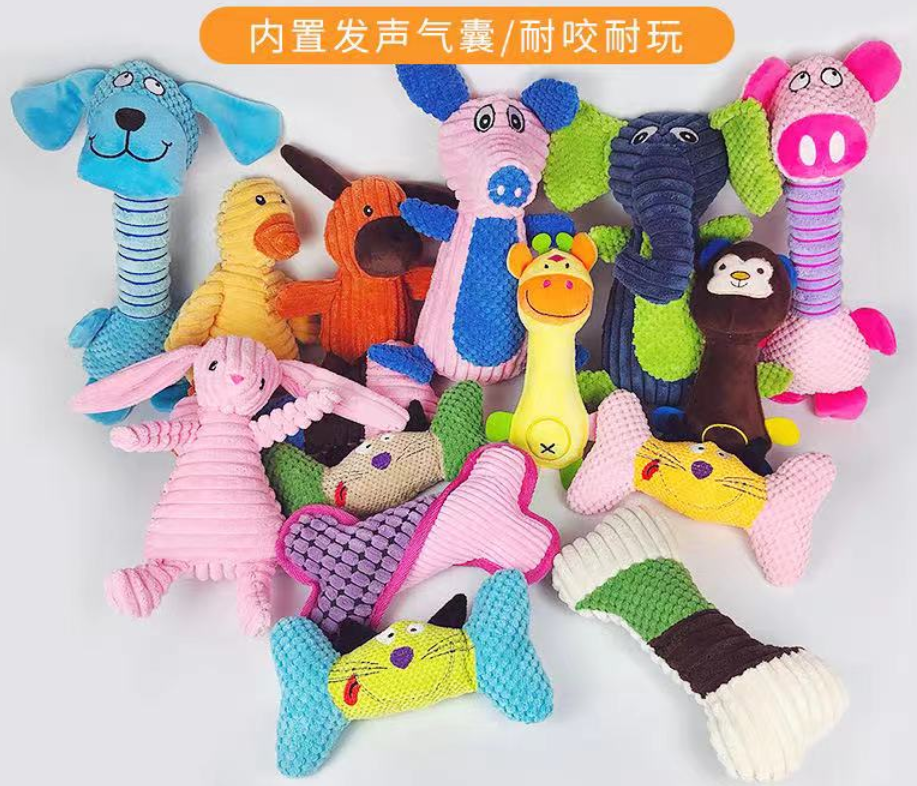 Factory Direct Sale Fur Made Premium Dog Chew Toys Cheap Dog Toys Lovable Animals Pet Squeaky Dog Chew Plush Toy Set