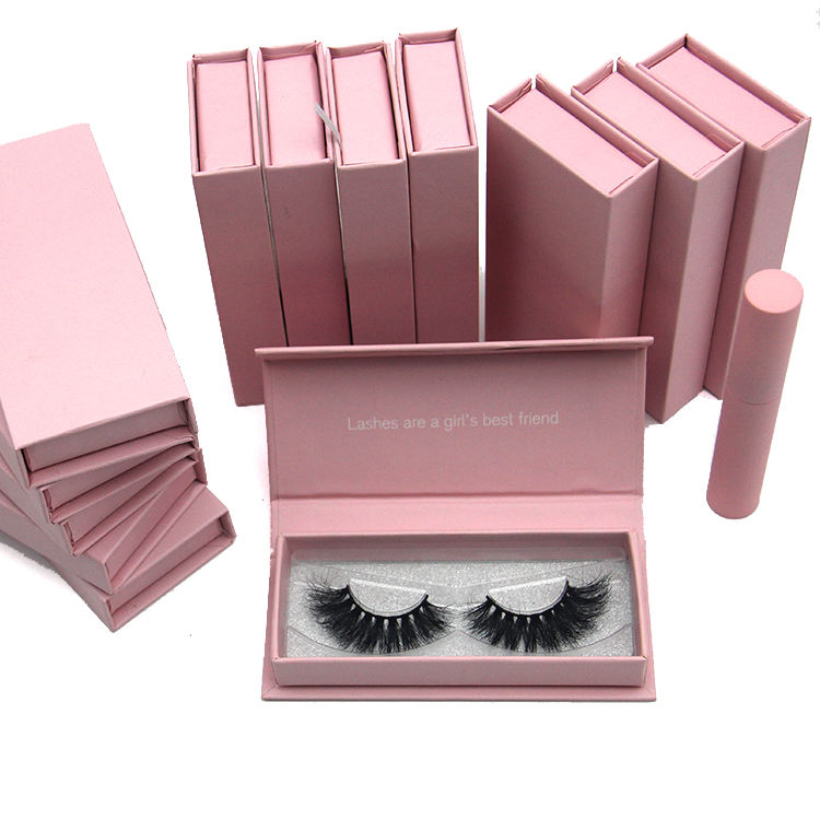 Custom eyelash packaging pink glitter 3d mink lashes eyelash vendor customized boxes