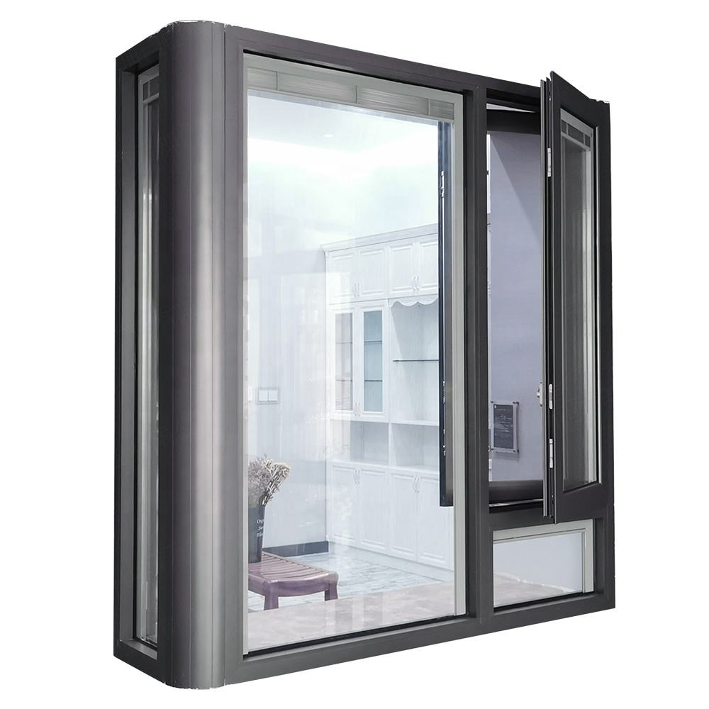 Double glass bow window aluminium french casement louvered windows
