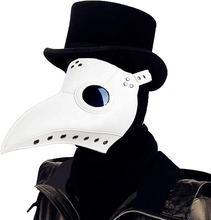 2020 New Cosplay scary Long Nose BeakSteampunk Halloween Costume Props White Black Plague Doctor Bird Mask