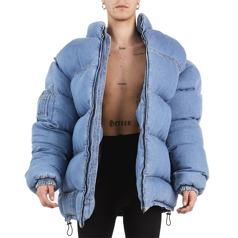 Custom winter oversize denim bubble down puffer jacket for men