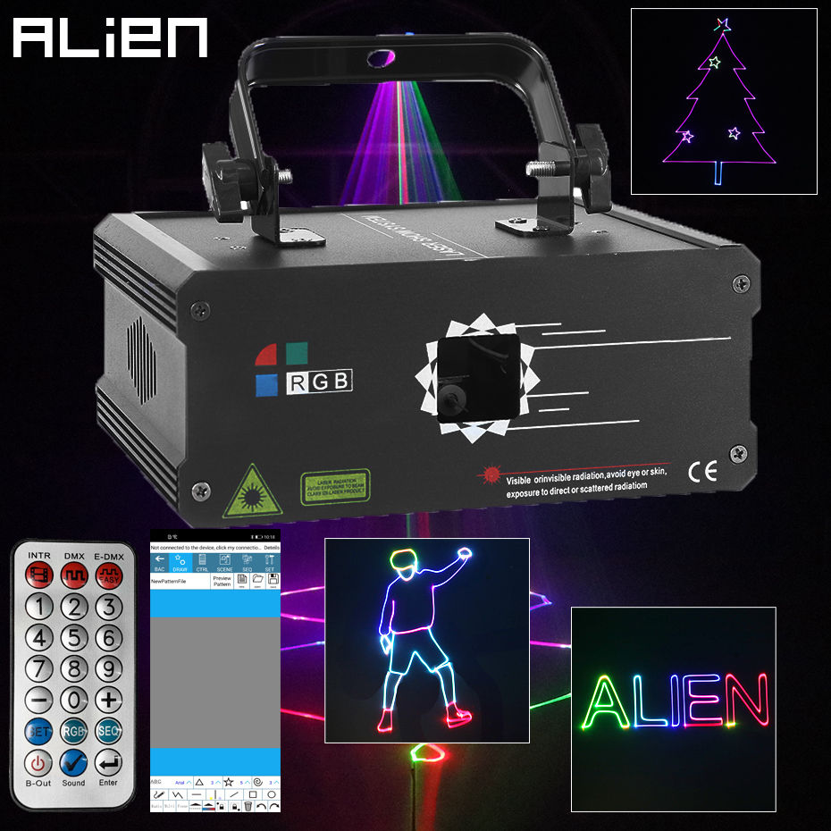 ALIEN RGB APP DIY Programmable Animation Laser Lights Projector With Remote