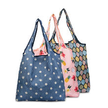eco friendly polyester reusable foldable shopping bag with pouch