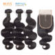 Bliss Emerald 100% Human Hair Bundles Body Wave Meche Humain Bresilienne En Chine 3 Bundles with Lace Frontal Closure