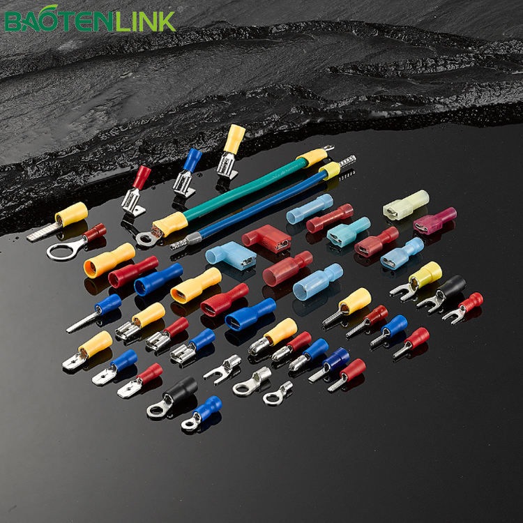 BAOTENG T2-Pre-insulating di Nylon cavo di Rame lug Crimp Isolati SV spade crimp terminal
