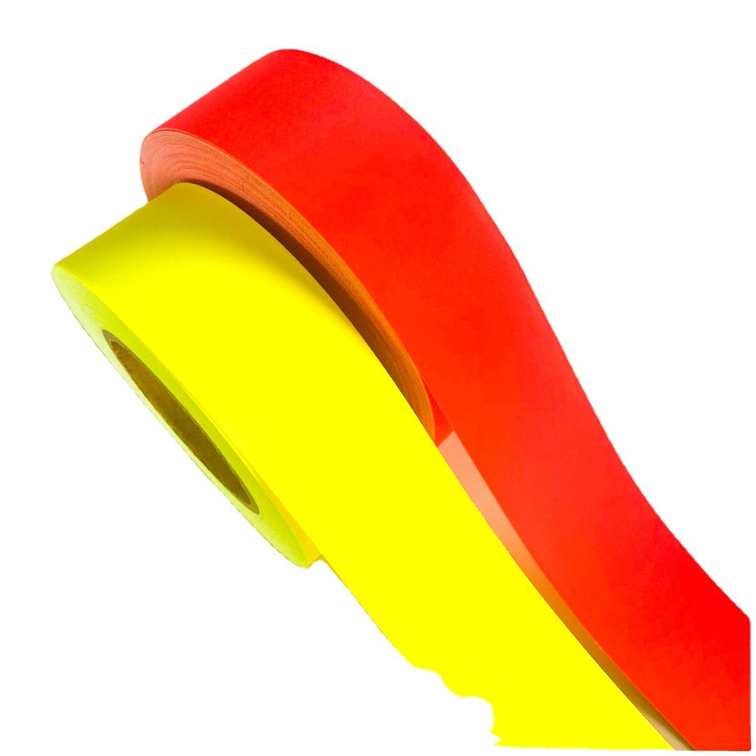 100%cotton flame retardant warning reflective fabric tape-fluo yellow /red
