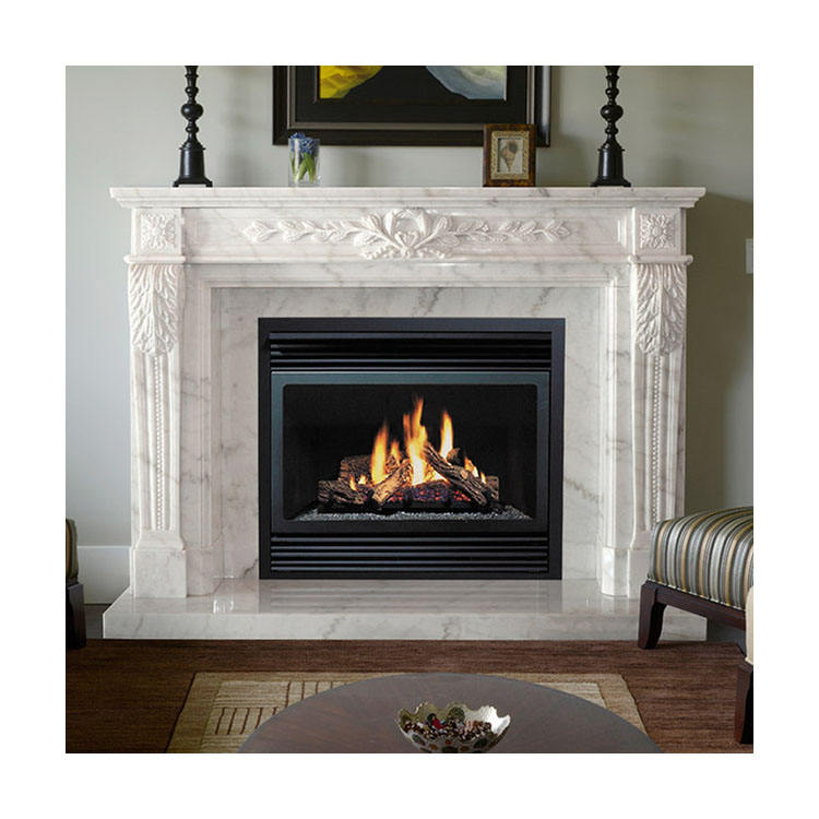 Modern Indoor Decorative Luxury Natural Stone Surround Marble Fireplace Mantel for sale