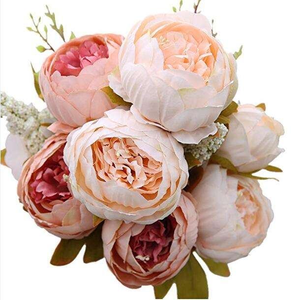 IFG hot sale 11 heads pink artificial flower peony bouquet