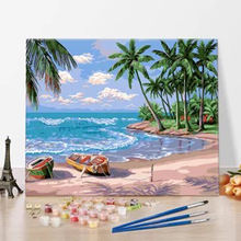Custom paint by numbers oil paint art boat diy acrylic painting canvas kit ocean sea for kids