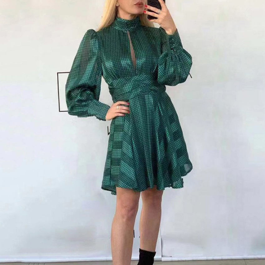 Long Sleeve Big Swing Type Lady Commuter Summer Women 2020 Dress Custom Dress Vintage
