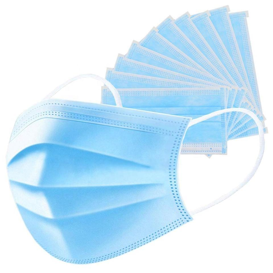 In Stock Non-Woven 3 Ply Surgical Disposable protective Face Mask With Elastic Earloop