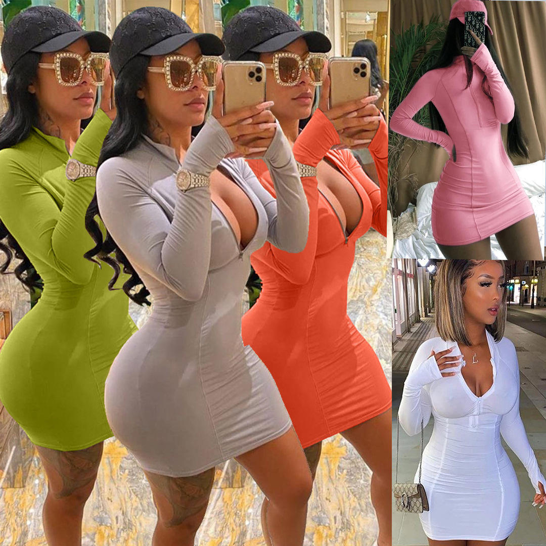 2020 plus size long sleeve sexy bodycon dress casual fall short dresses women summer