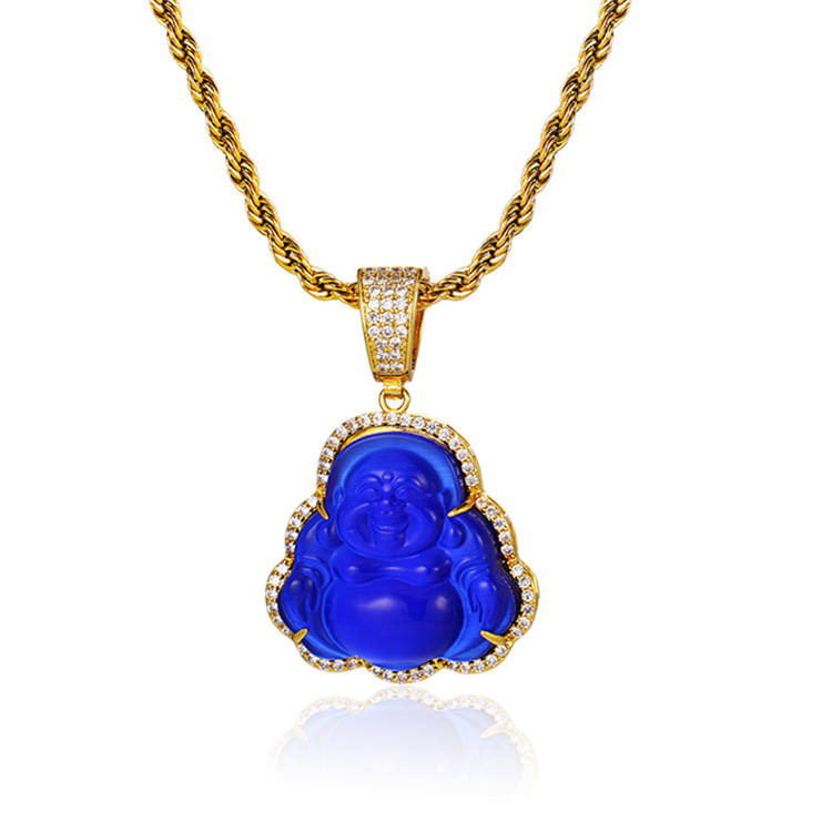 Factory Wholesale Fashion Customizable Colors Natural Laughing Buddha Pendant Jewelry Maitreya Opal Pendant Necklace