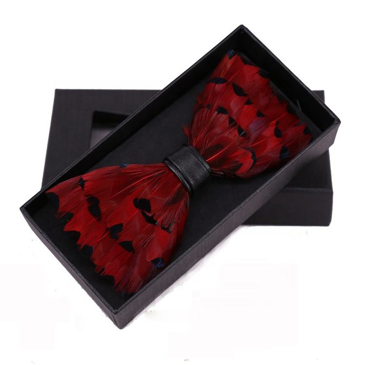 New coming men's banquet natural red feather bow tie for wedding