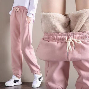 2020 Winter Women Sport Pants Gym Sweatpants Workout Fleece Trousers Solid Thick Warm Winter Female Running Jogger Pants