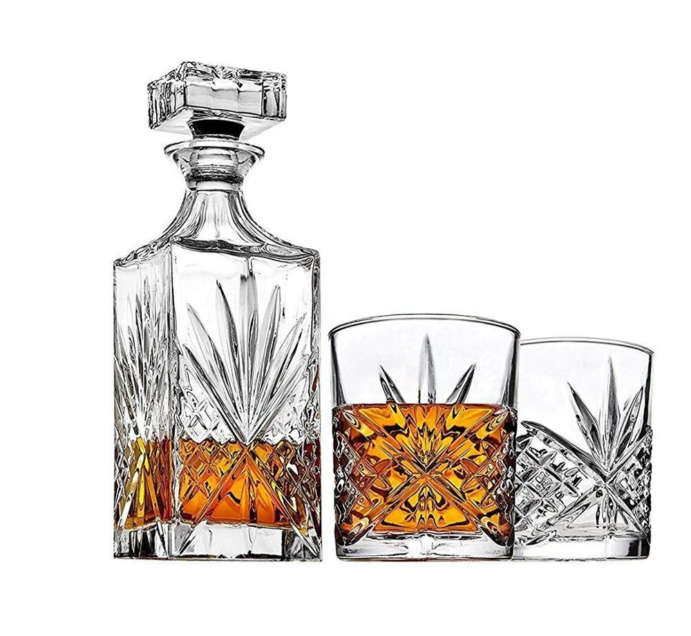 New Design Lead Free Crystal Glass Bottle Whiskey Decanter Crystal Wine Decanter Hot Sell Engraved Crystal Whiskey Decanter Set
