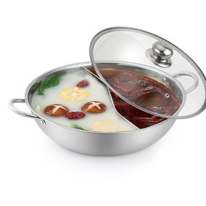 factory induction metal stainless steel Chinese cooking hot pots with divider