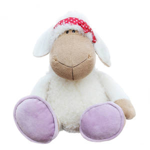 Hight quality small white cuddly stuffed sheep with colorful scarf toy for baby