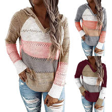 Women's Autumn Casual Fashion Long Sleeve Knitted Sweater Color Block Pullover Hooded Sweater