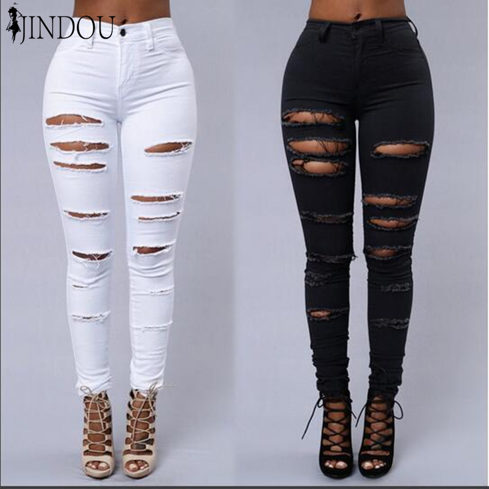 Custom New Fashion Women Pants Distressed Slim Ripped Jeans For Women