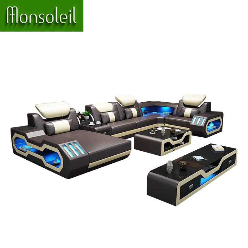 Home theatre living room sofas luxury U shaped Genuine leather sofa with LED light