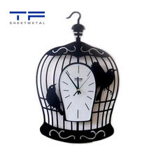 Custom metal wall art home decor laser cutting bird cage with clock design wallart