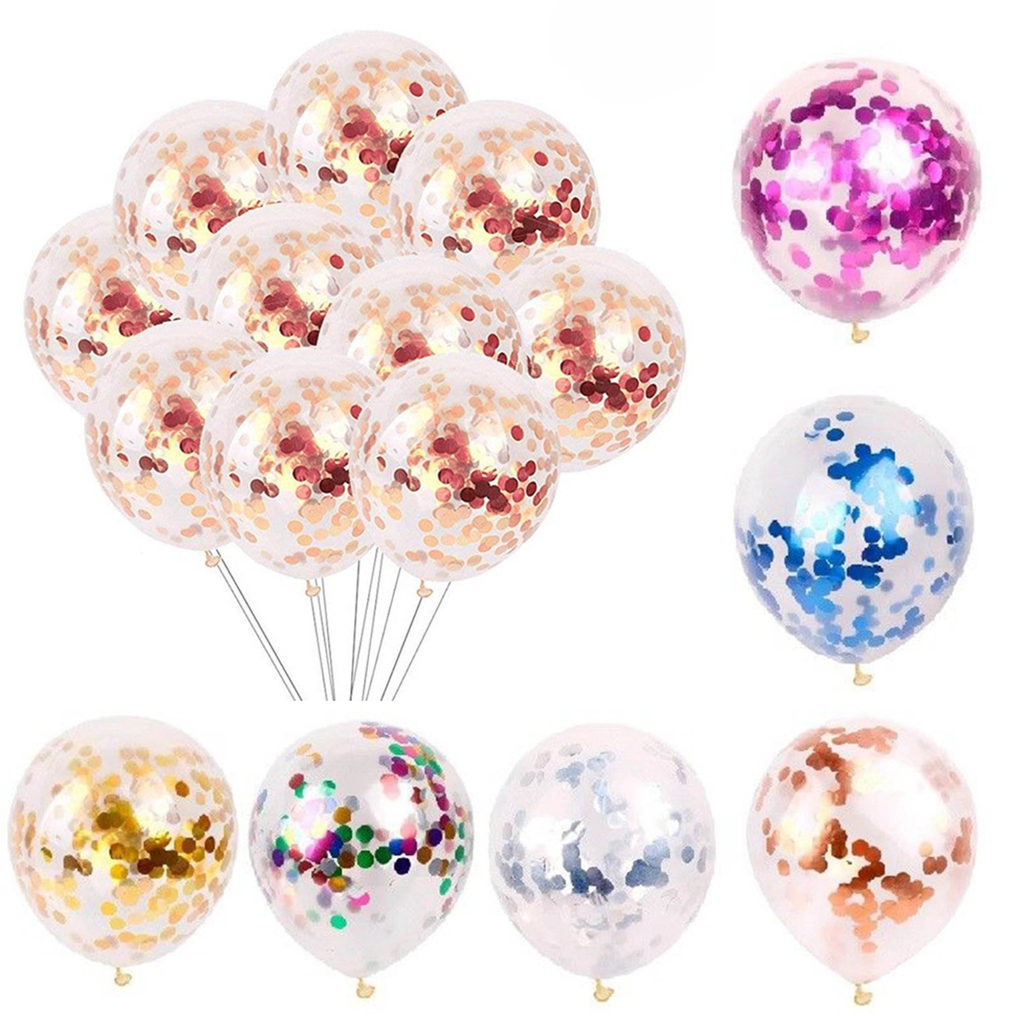 Groothandel 12in Rose Gold Feestartikelen Decoratie Giant Transparant Latex Vulling Confetti Ballon Ballon