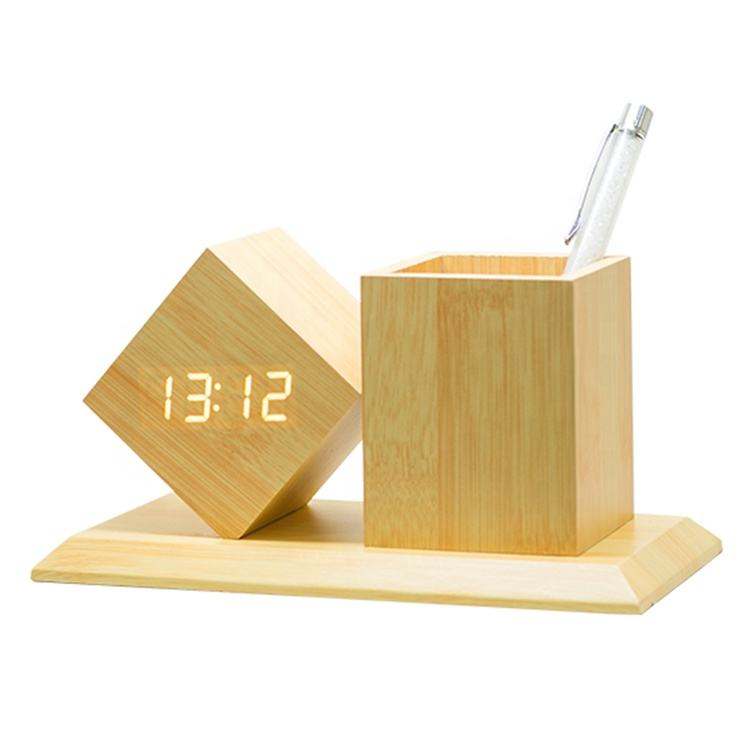 Office student desktop wooden pen holder digital alarm clock with date temperature display