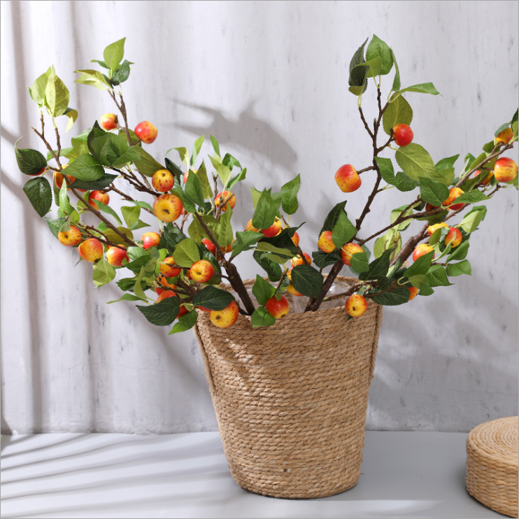 Artificial branch with olive branch with fruit floral stems pomegranate Real Touch Berries 6 Heads Branches new trend product