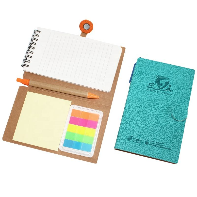 YiYuan Custom kraft soft cover Notebook Spiral wire a4 memo pad cute with sticky notes and pen