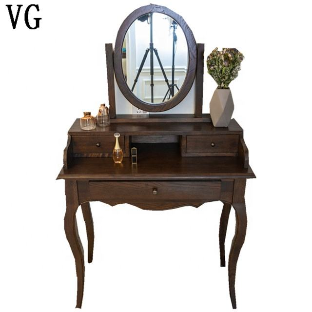 Plywood High Gloss Antique bedroom dressers Design with round mirror for House Project