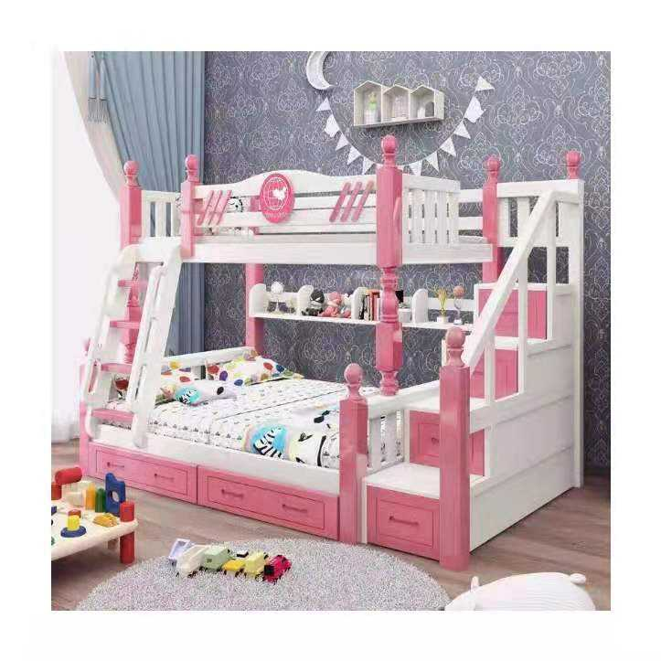 Children Furniture Solid Wood And Bunk Bed for Kids Bed With Drawer Blue For Boy