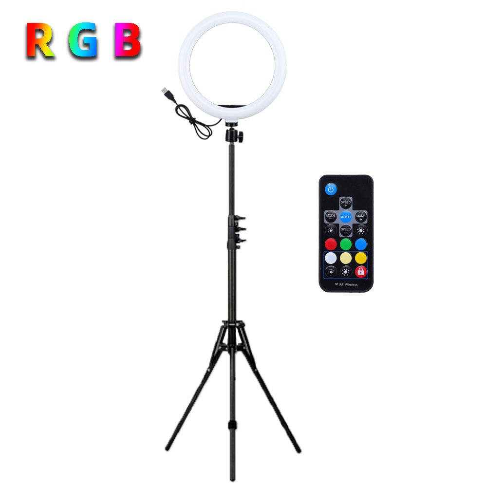Travor 26cm Ringlight 10 Inch RGB LED Ring Light With Tripod Stand and Phone Hold, Remote Control for YouTube Video Photography