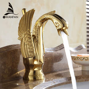 WANFAN Single Hole Brass Basin Sink Tap HJ-35K Luxury Swan Deck Mount Cold Hot Water Mixer Tap Gold Basin Faucet